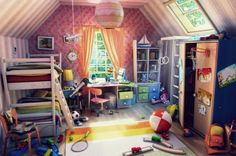 An beautifully planned and rendered kid's bedroom. It may not be real but it's still inspiring nevertheless.