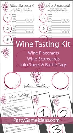 Wine Tasting Party Kit comes with wine placemats, wine rating cards, wine tasting information sheet, bottle tags, and helpful tips for the Wine Tasting Party Host. Wine Tasting Card, Wine Tasting Events, Friends And Wine Quotes, Wine Games, Wine Parties, Theme Parties, Wine Ratings, Party Kit, Party Ideas