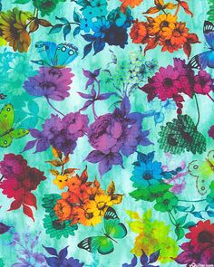 Trapezium - Garden of Dreams - Turquoise - DIGITAL PRINT