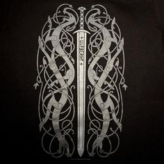 Ancient Ulfberht Sword design with Urnes Style Knotwork Dragons Shirt – Tshirt – Norse Nordic Viking Frankish Historically Inspired – Norse Mythology-Vikings-Tattoo Viking Sword Tattoo, Viking Tattoo Sleeve, Norse Tattoo, Viking Tattoos, Sleeve Tattoos, Armor Tattoo, 3d Tattoos, Tattoo Ink, Thai Tattoo