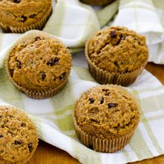 Pumpkin Chocolate Chip Muffins - an easy recipe with chocolate chips and a hint of cinnamon. Gluten-free, grain-free and paleo-friendly. ~ http://cookeatpaleo.com
