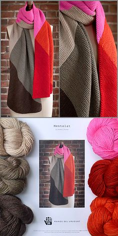 Mentolat. Knit as scarf or generous wrap in Manos Silk Blend (extrafine merino wool + silk). Knockout color combination.
