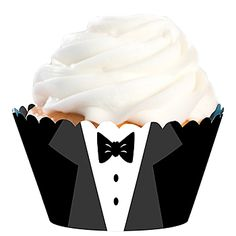 Our Sequins and Bow Ties Day Cupcake Wrapper features the look of a tuxedo with a black jacket, white shirt and black tie.