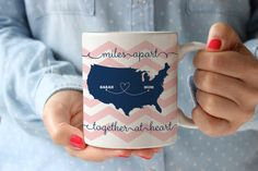 Miles Apart - Together at Heart personalized chevron coffee mug  what a great gift idea for my BFF (and mom, and grandma)...  I love that they'll change the colors and cities to be whatever you want!