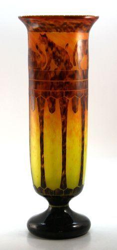 Art Deco Le Verre Francais Cats Pattern Cameo Glass Vase | eBay