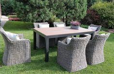 Eastborn - meble ogrodowe technorattan zestaw stołowy 230 cm - Twoja Siesta Outdoor Furniture Sets, Outdoor Decor, Ottoman, Sofa, Table, Home Decor, Settee, Decoration Home, Room Decor