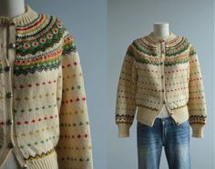 Vintage Nordic Wool Cardigan / 50s Hand Knit Fair Isle Sweater Cream Red Green Holiday Christmas on Etsy, $98.00