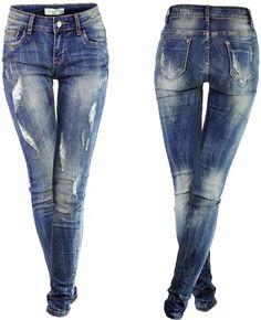 Spodnie Jeans Slim-Fit Przecierane