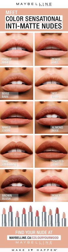 Color Sensational® Inti-Matte Nude lipstick features warm, golden pigments that enrich your natural lip colour. Warmer, more sensational nudes for every skin tone. Pucker up to radiant, confident colour that highlights one's natural beauty.