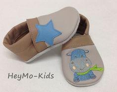 Krabbelschuhe, Lederpuschen Hippo von HeyMo Kids auf DaWanda.com