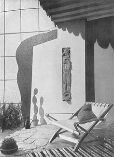 """Włodzimierz Padlewski, fragment tarasu na wystawie """"Architektura Wnętrza"""" w Instytucie Propagandy Sztuki w Warszawie, 1937"""