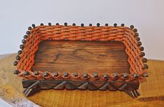 Industrial Style Vintage Basket, Square, Footed, Rope And Wood Basket Vintage Baskets, Vintage Decor, Wood Basket, Metal Spikes, Christmas Gifts For Him, Rust Color, Wood And Metal, Industrial Style, My Etsy Shop