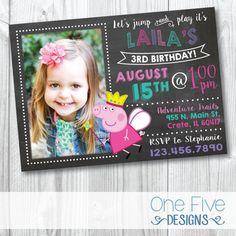 Invitación de cumpleaños Peppa Pig con foto por OneFiveDesigns