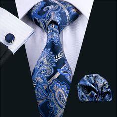 FA-613 Mens Tie Blue Paisley Silk Jacquard Neck tie Tie Hanky Cufflinks Set Ties For Men Business Wedding Party Free Shipping