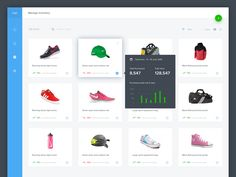 Exploration design for dashboard inventory, the purpose of this page is to manage inventory and user can quickly figure out which products has good trend or bad trend.  -------  Icon: Google Icons