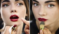 "◾A top tip for anyone who's worried their red lippy will start to feather is the apply an ""invisible"" lip liner beforehand such as Rimmel's Moisture Renew Universal transparent one.  ◾For lips it has to be one of Dolce & Gabbana's own lipsticks, the Classic Cream #620."