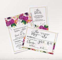 Spring Floral Wedding Invitation Set Script by KarlyKDesignShop