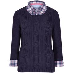 Cotton Rich Mock Shirt Jumper M&S (170 BRL) ❤ liked on Polyvore featuring tops, sweaters, cotton sweaters, blue cotton sweater, jumper shirt, mock top and cotton jumper