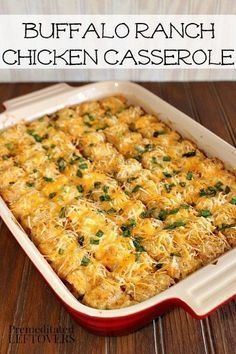 Buffalo Ranch Chicken Casserole Recipe - used cooked chicken and mixed half ranch half blue cheese. Added some bacon crumbles and used sharp cheddar.
