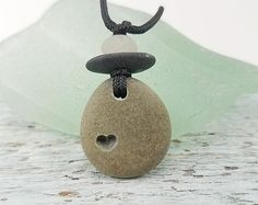 Heart Necklace small beach rock pendant engraved heart stone boho necklace rock necklace surfer jewelry natural stone jewelry