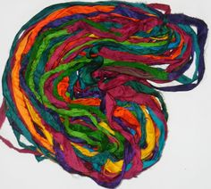 Recycled Sari Silk Ribbon Yarn multi 3 65 yards  by JuliaLCraft, $11.00
