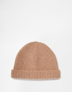 ASOS Fisherman Beanie in Camel Cashmere