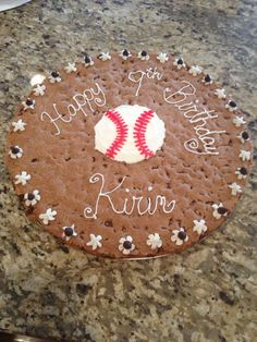 "Baseball chocolate chip cookie ""cake"""