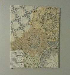 Crochet Wall Art - with crocheted doilies