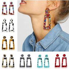 Earrings For Women 2019 Resin Large Square Earrings Trendy Geometric A Bar Stud Earrings, Square Earrings, Girls Earrings, Statement Earrings, Minimalist Earrings, Minimalist Jewelry, Leaf Jewelry, Jewelry Rings, Silver Jewelry