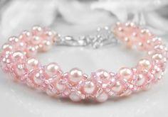 Flower Girl Bracelet Pink Pearl Hugs and by PixieDustFineries, $35.00