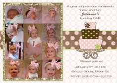 custom digital pink and brown first birthday photo collage invitation