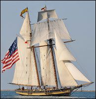 Pride of Baltimore II is a topsail schooner built to the lines of an Baltimore Clipper. Owned by the State of Maryland and operated by Pride . Tall Ships Festival, Old Sailing Ships, War Of 1812, Sail Away, Baltimore, Savannah Chat, Maryland, Lighthouse, Nautical