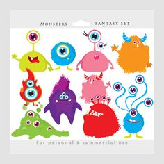 Monster clipart monsters clip art by WinchesterLambourne on Etsy Art Clipart, Vector Clipart, Cartoon Monsters, Cute Monsters, Cartoon Characters, Fall Crafts, Halloween Crafts, Monster Clipart, Aliens