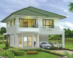 Trendy exterior house styles bungalows dream homes 15 ideas Two Story House Design, 2 Storey House Design, Two Storey House, Bungalow House Design, House Front Design, Small House Design, Modern House Design, Beautiful House Plans, Modern House Plans
