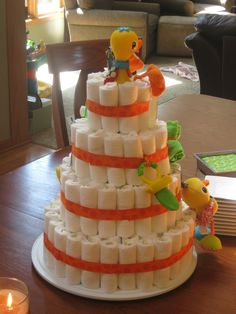 Duck diaper cake Duck Diapers, Baby Shower, Cake, Desserts, Food, Baby Sprinkle Shower, Pie Cake, Tailgate Desserts, Pastel