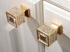 Rhinestone Glass Knobs Crystal Knob Drawer Knobs Dresser Pulls Handles Kitchen Cabinet Knob Decorative Knobs Pull Handle Hardware Clear Gold