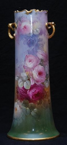 Vintage hand painted porcelain vase by William Guerin Co, Limoges, France early 1900s
