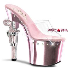 Revolver-701LS, 7 Inch High Heel with 3.75 Inch Platform Line Rhinestones on Sandal with Gun Heel