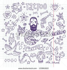 Doodles Vectors, Photos and PSD files Kritzelei Tattoo, Hand Tattoos, Tattoo Foto, Doodle Tattoo, Love Tattoos, Small Tattoos, Tattoos For Guys, Tattoo Flash, Tatoos
