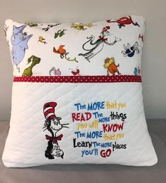 Sewing Pillows the more colors with Dr-Seuss line Reading Pillow machine embroidery 2 designs 3 sizes - Pillow Embroidery, Learn Embroidery, Machine Embroidery Patterns, Vintage Embroidery, Quilt Patterns, Embroidery Ideas, Embroidery Patches, Pillow Patterns, Hand Embroidery