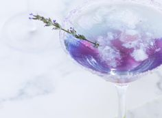 """Lavender Blue ~ Just because you don't have any booze left in the cupboard doesn't mean you can't enjoy a mocktail on Tomorrow we'll be sharing the """"how to"""" on our stories. Virgin Cocktails, Non Alcoholic Cocktails, Lemon Syrup, Ice Blocks, Thirsty Thursday, Lavender Color, Simple Syrup, 1 Cup, Vermont"""