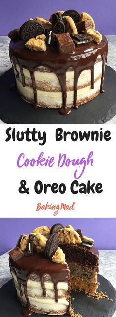 This triple layered cake is so gluttonous! Treat youurself. #Chocolate #Cookies #Brownies #Oreo #Cake #recipe