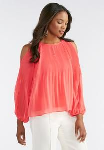 Stretch Pleat Cold Shoulder Top-Plus