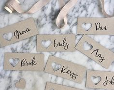 Wedding place cards Heart Name Tags Heart Tags Personalised Wedding Name Tags, Wedding Place Cards, Personalized Tags, Modern Calligraphy, Wedding Stationery, Groom, Place Card Holders, Bride, Handmade Gifts