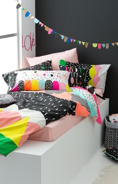 Cotton-on Kids Australia. Super cool and colorful kids room decor! Girl Room, Girls Bedroom, Bedroom Decor, Nursery Decor, Kids Bed Linen, Deco Kids, Kids Decor, Home Decor, Kid Spaces