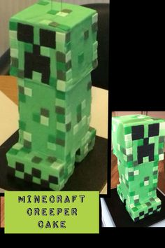Giant Minecraft Creeper Cake for Avery