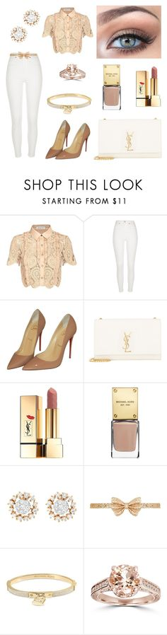 """""""Untitled #855"""" by coolale ❤ liked on Polyvore featuring self-portrait, River Island, Christian Louboutin, Yves Saint Laurent, Victoria's Secret, Michael Kors, GLK, Dorothy Perkins and Bliss Diamond"""
