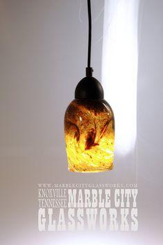 Medium Coffee Amber  6  Pendant Light   by MarbleCityGlassworks