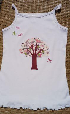 T-shirt taille 12 ans avec un poirier en appliqué Liberty Plum Dog : Mode filles par mabelbul