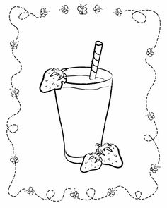 Strawberry Milkshake Coloring Page Free Printable Coloring Pages